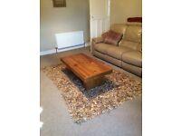Tan leather rug
