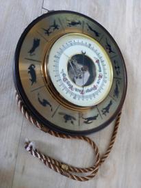 Vintage zodiac hanging barometer