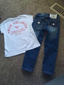 Toddler Girls True Religion Skinny Jeans and Tshirt Sz 4