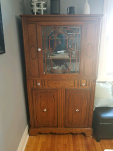 Antique dining room hutch with glass door - solid wood