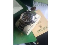 All stainless chrono mens automatic watch Rolex Boxed Daytona with papers