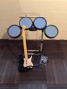 Rock Band Drums, Guitar and Game