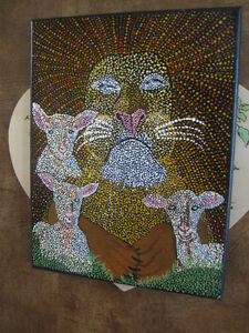 "MEANINGFUL STRETCH-CANVAS PAINTING  ""THE LION and the LAMBS"""