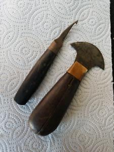 2 Small Wood Handle Tools
