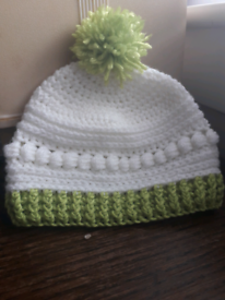 Crocheted baby hat with pom pom 3 to 6 months