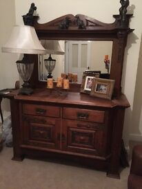 Large antique oak Buffett dresser