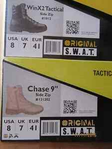 2 PAIRS SWAT ZIPPERED TACTICAL PERFORMANCE BOOTS - SIZE 8, NEW