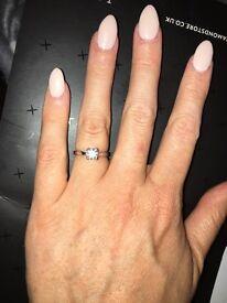 0.75 carat solitaire diamond, 18k white gold, size K engagement ring