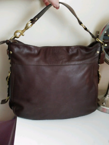 Coach Zoe Editorial XL Dark brown leather shoulder bag. #12664