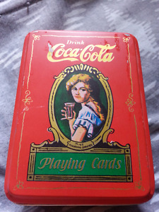 (NEW) 1980 Vintage Coca Cola Playing Cards Tin Set