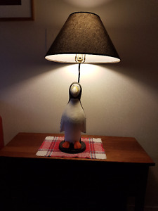 Carved Penguin Table Lamp