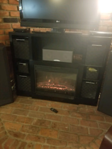 TV stand with electric fireplace (baskets included)