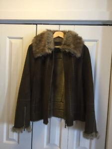 Manteau (veste) d'automne/hiver suède (daim) et fourrure