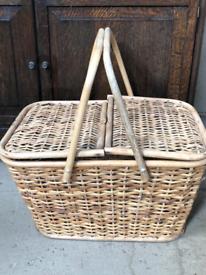 Large Vintage Wicker & Cane Lidded Picnic Basket