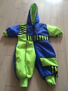 Blue and Green fleece one piece outerwear for boys