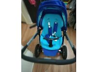 Six months old buggy easy to push big shopping basket with new footmuff