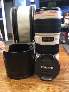 Canon 70-200 2.8 IS II Lens + mount + UV filter + pouch + hood +