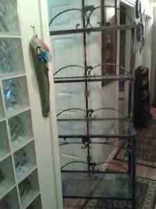 Very Sturdy Bakers Rack...Grey Iron and Glass Shelves