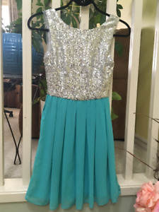 Bryan's Size 1/2 Sequinned Teal Cocktail Dress