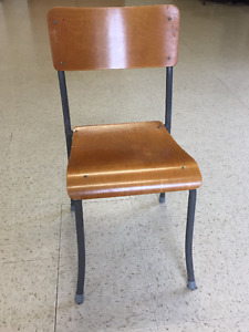 Metal and wood stacking chairs