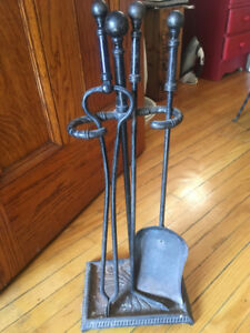 Antique Forged Cast Iron Fireplace Tools - $250