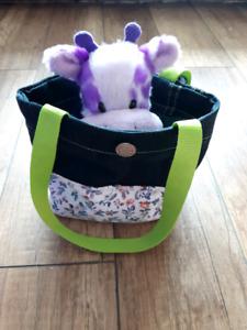 Handmade a little purse with a purple giraffe
