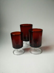 Ruby Red Luminarc Water Glasses - 3 sizes