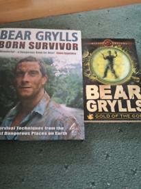 Bear Grylls books one hardback one paperback both signed