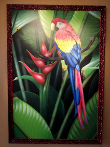 Stunning parrot painting from Costa Rica and frame!