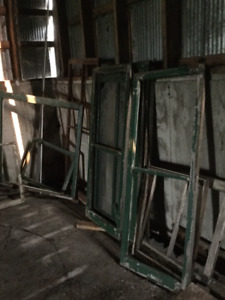 Assorted old window frames