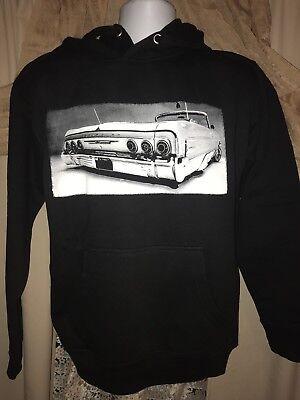 1964 Chevrolet Impala Convertible lowrider Silk Screen Hoodie-Sizes S-3XL Black -