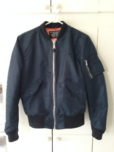 Schott NYC MA-1 Slim Fit Nylon Flight Jacket Small 928J Navy