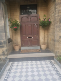Beautiful and large antique front entrance door.