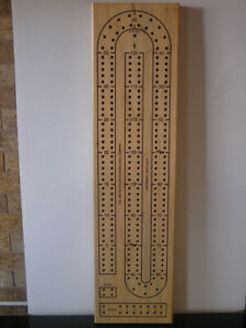 Unused Cribbage Board Solid Wood 2 Track 4 Players Like New