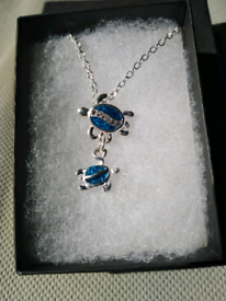 Turtle with baby pendant-New!