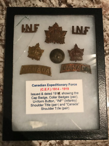 1914-1915 UNIFORM BADGE SET FOR GENERAL SERVICE IN THE C.E.F.