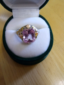 LADIES VINTAGE 1970'S SILVER AND GOLD RING INLAID WITH AMETHYST