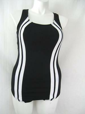 Krista Collection Size 18W Black 1-piece Polyester Performance Swimsuit