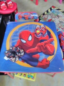 Childs Spiderman Table and Chairs