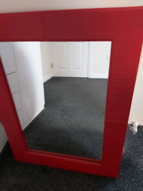 Red leather mirror