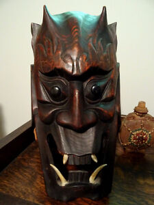 HORNED DEVIL MASK FANGED hand carved wood FABULOUS PIECE vintage