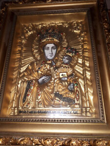 GREEK RUSSIAN POLISH MOTHER OF GOD FRAMED 3D ICON
