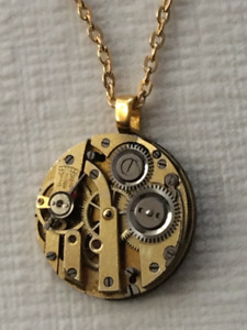 14 K Gold Plated Necklace with clockwork pendant