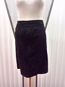 Black Suede Straight Skirt