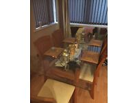 Dining table and chairs and coffee table