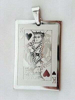 Stainless Steel Lucky Charm - Stainless Steel KING Playing Card Poker Game Gambling Gaming Lucky Charm Pendant