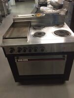 4 burner with flat grill oven electric