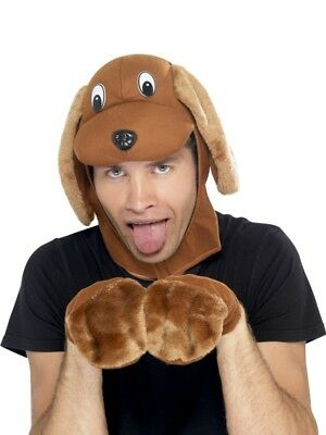 Dog Animal Brown Instant Kit Adult Mens Smiffys Fancy Dress Costume Accessory