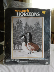 Needlepoint winter scene with Canadian geese; bag never opened.