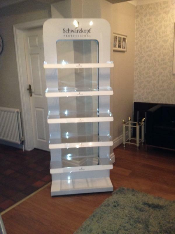 White 40 Tier Schwarzkopf Retail Stand For Hair Salon In Liverpool Stunning Salon Retail Display Stands